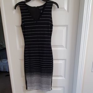 Black and white thin stripe dress Jersey Knit